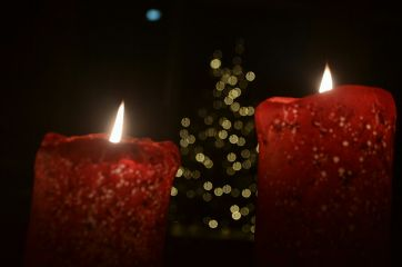 candels red bokeh lights christmas freetoedit