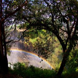 waterfall rainbow victoriafalls dpcrainbow travelmemories dpcsilhouettesoftrees