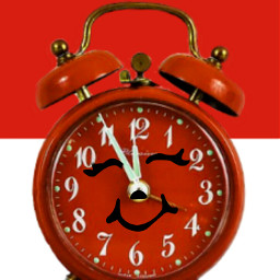 freetoedit clock time red cute