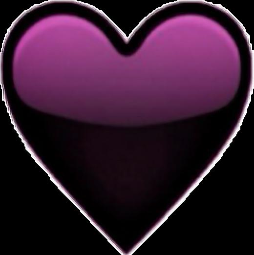 heart black purple tumblr cool emoji sticker