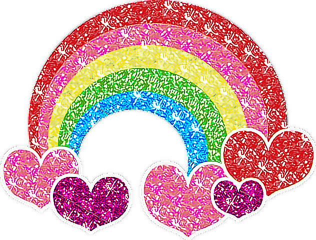 glitter rainbow heart love - Sticker by Alissa Denae