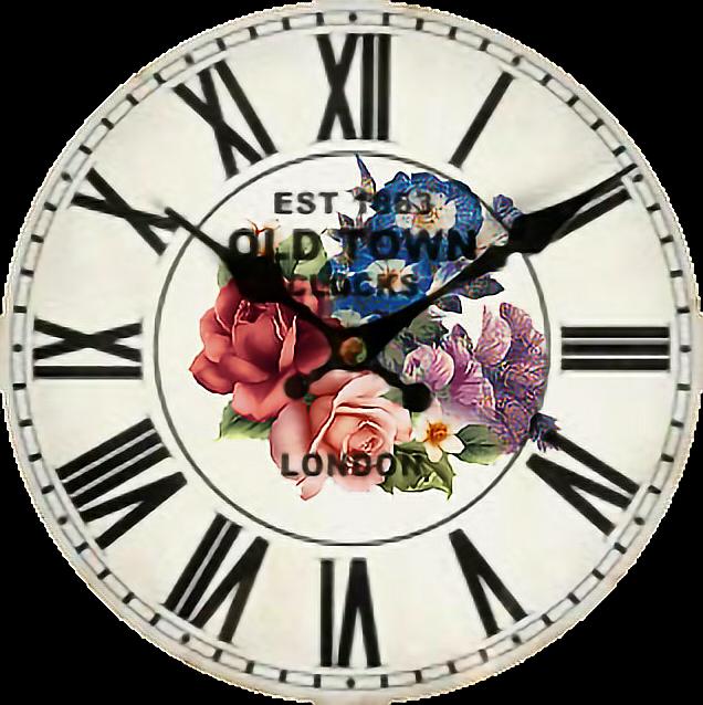 #clock#flowers