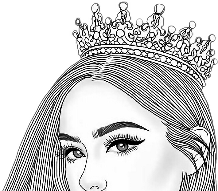 Line Art Picsart : Queen girl tumblr top crown princess
