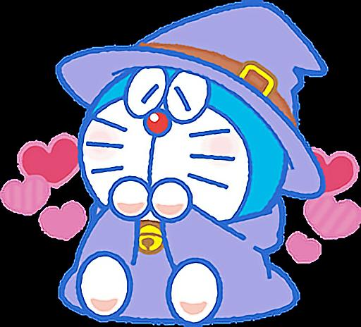 cute doraemon halloween love heart colorful wizard